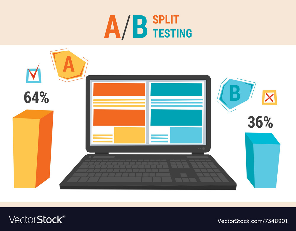Infographics of a b split testing vector