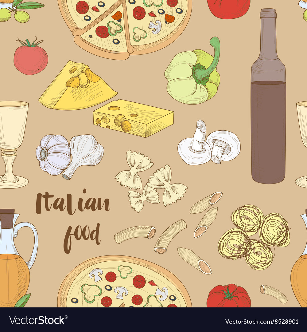 Italian food pattern vector