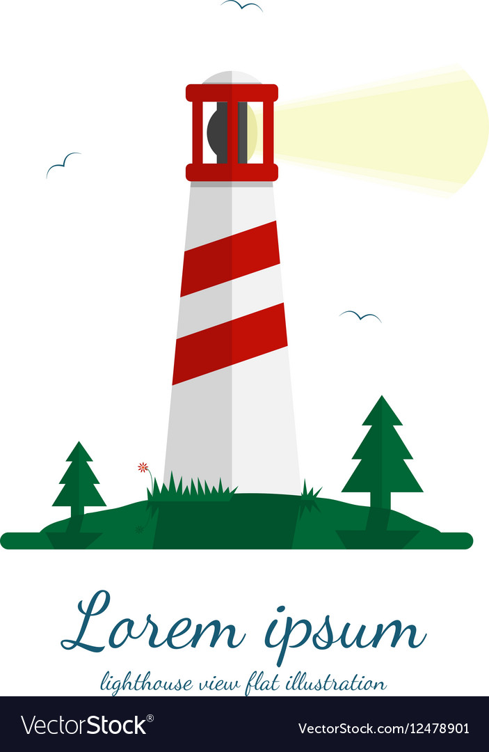 Lighthouse in flat design vector