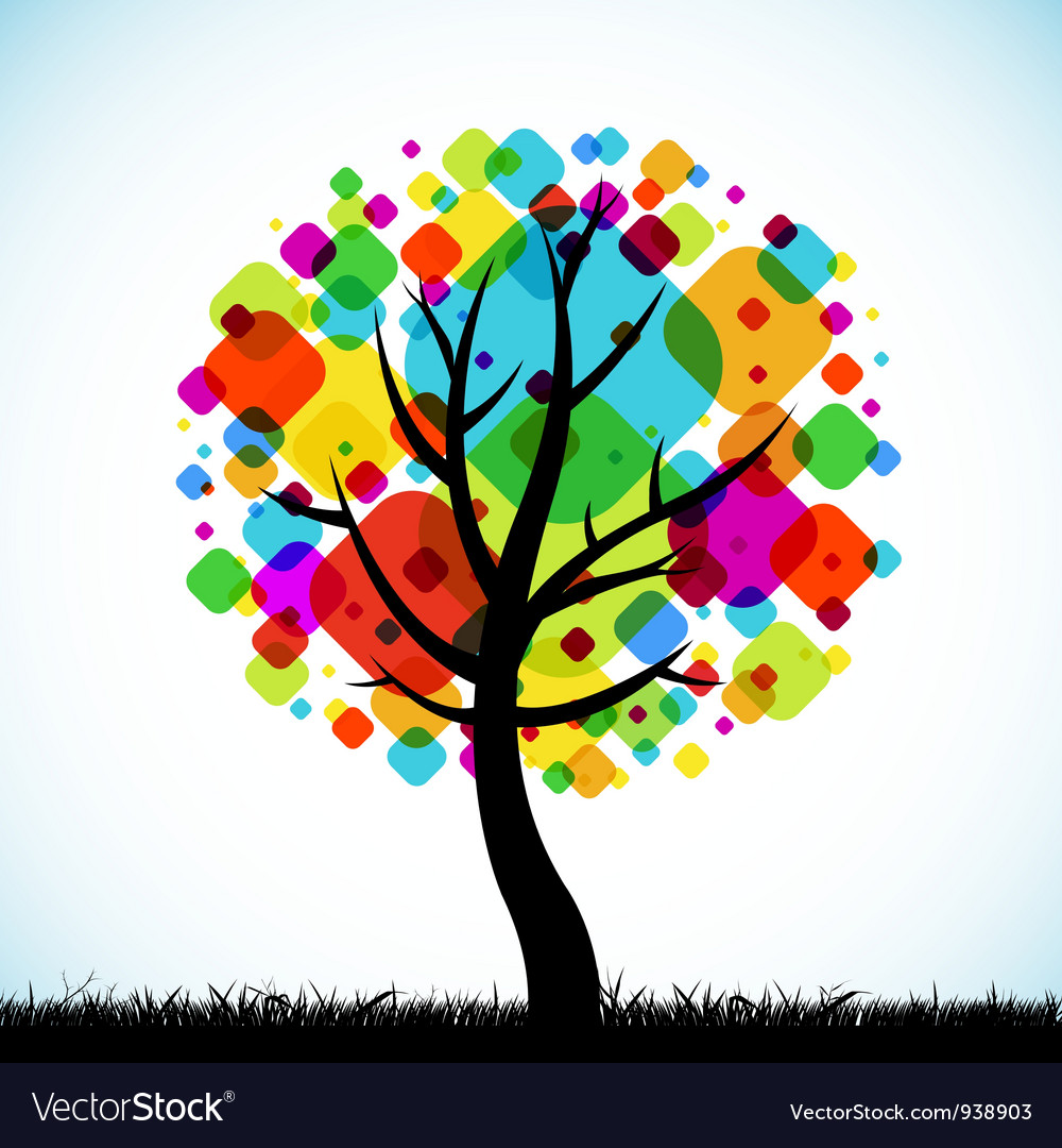 Abstract tree colorful background vector