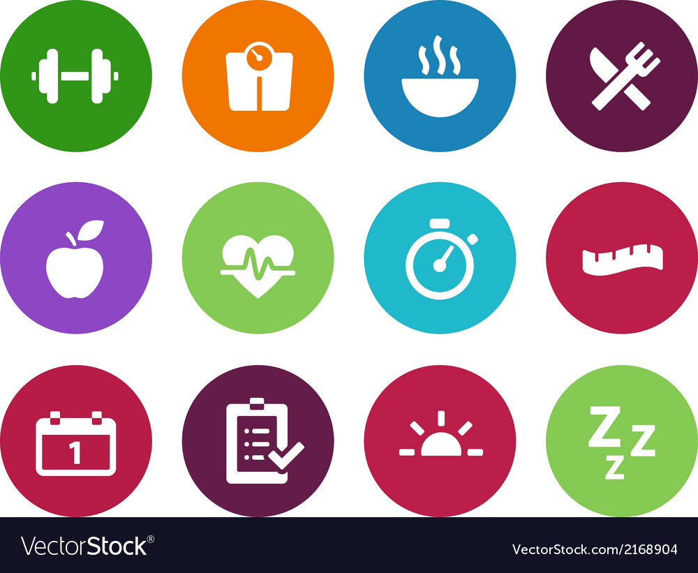 Fitness circle icons on white background vector