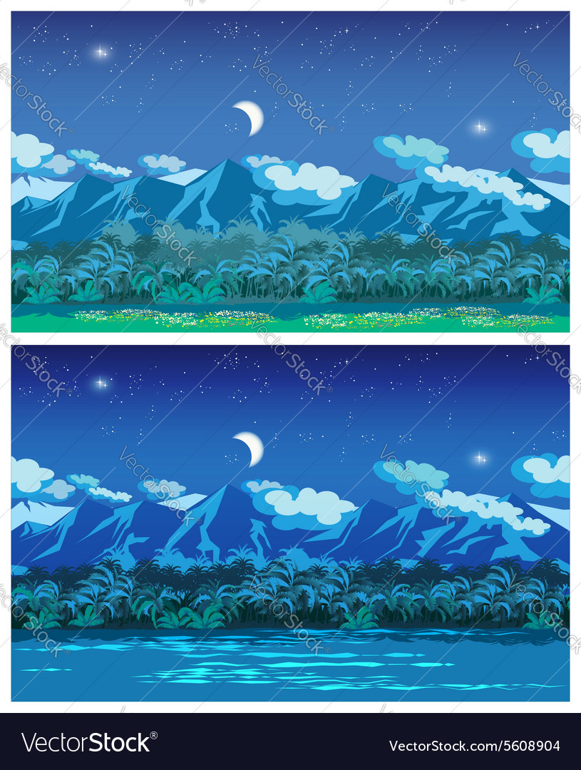 Night jungle vector