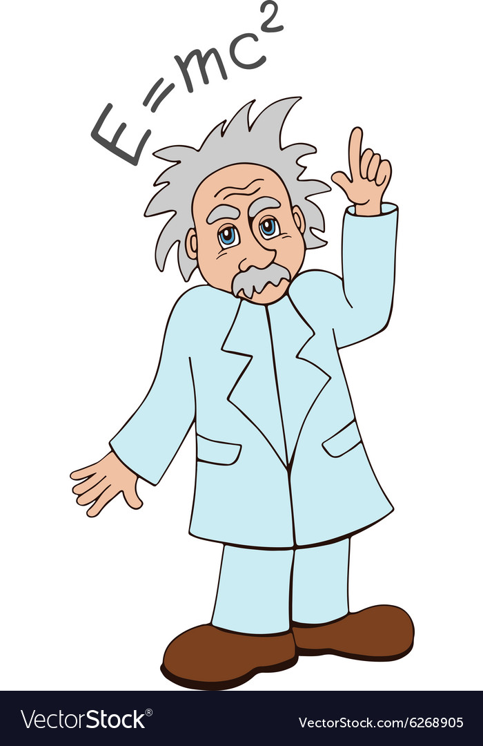 Einstein on a white background vector