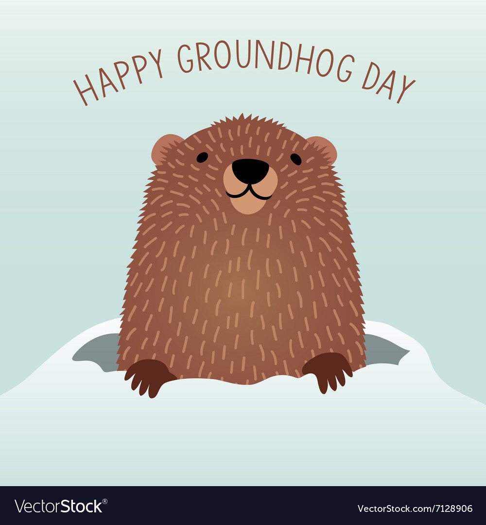 Happy groundhog day design vector