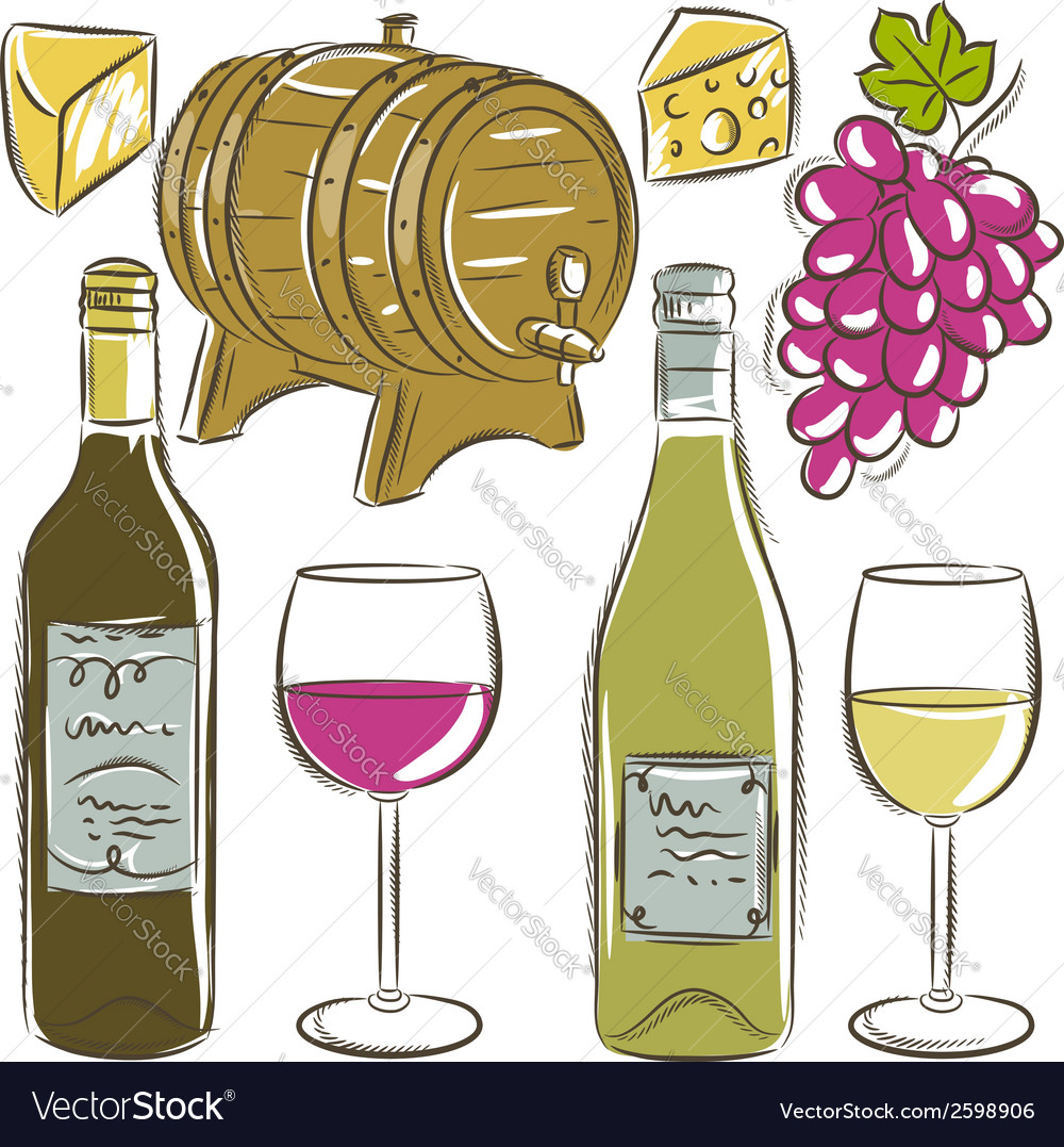 Set of glasses and bottles for wine vector