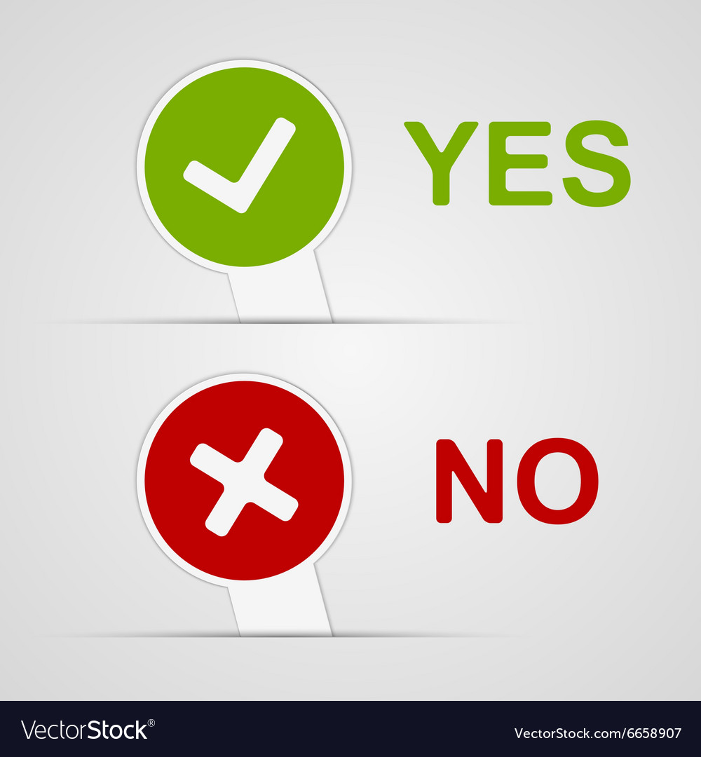 Yes and no icons paper stickers vector
