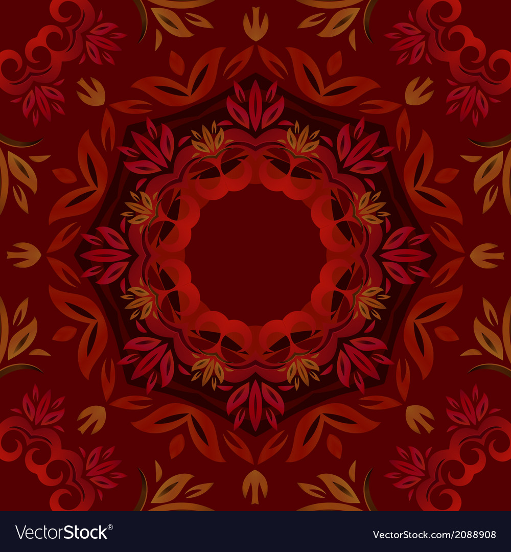 Abstract dark red floral background with round vector