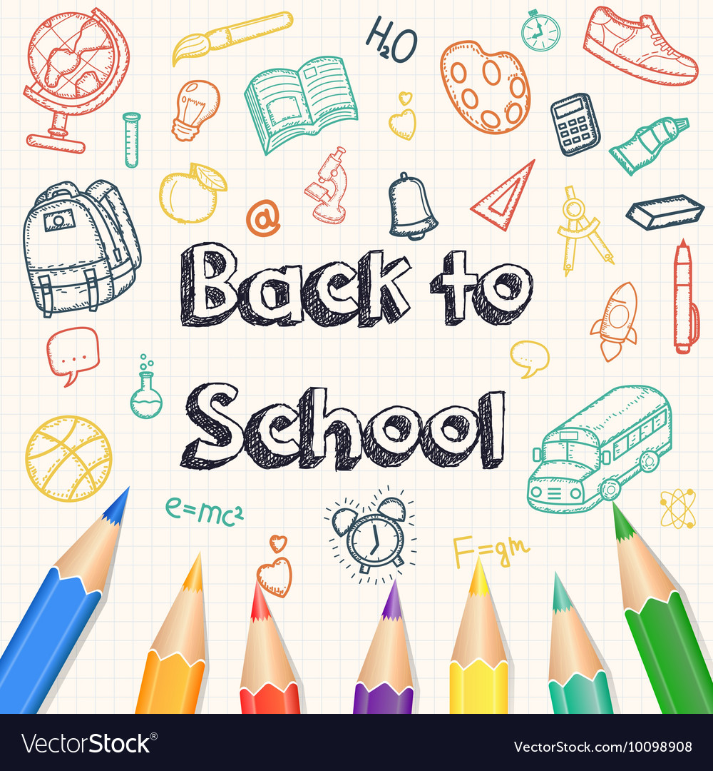 Back to school background with hand drawn doodle vector