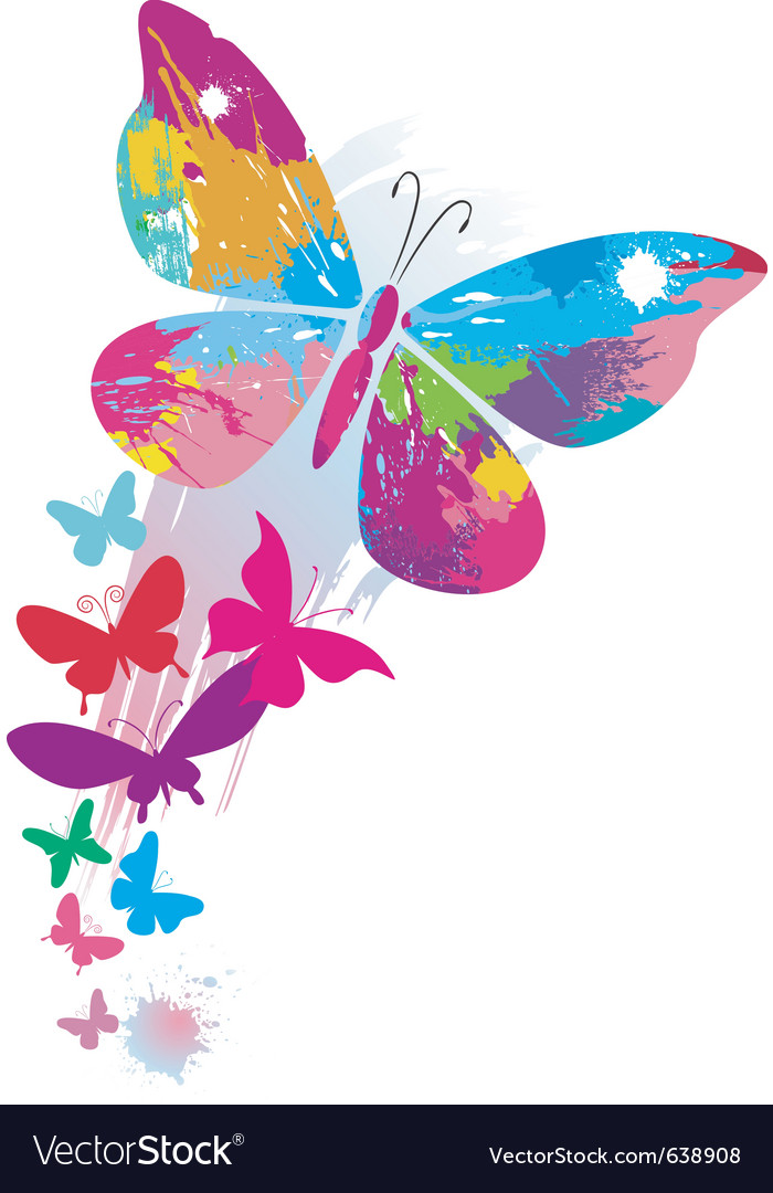 Butterflies and line brushes vector
