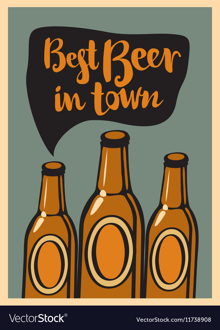 Three bottles beer vector