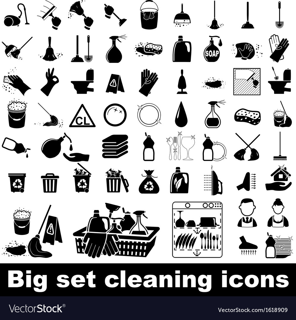 Big set cleaning icons vector