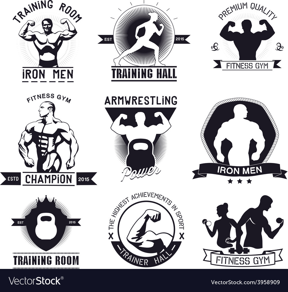 Bodybuilding and fitness gym logos and emblems vector