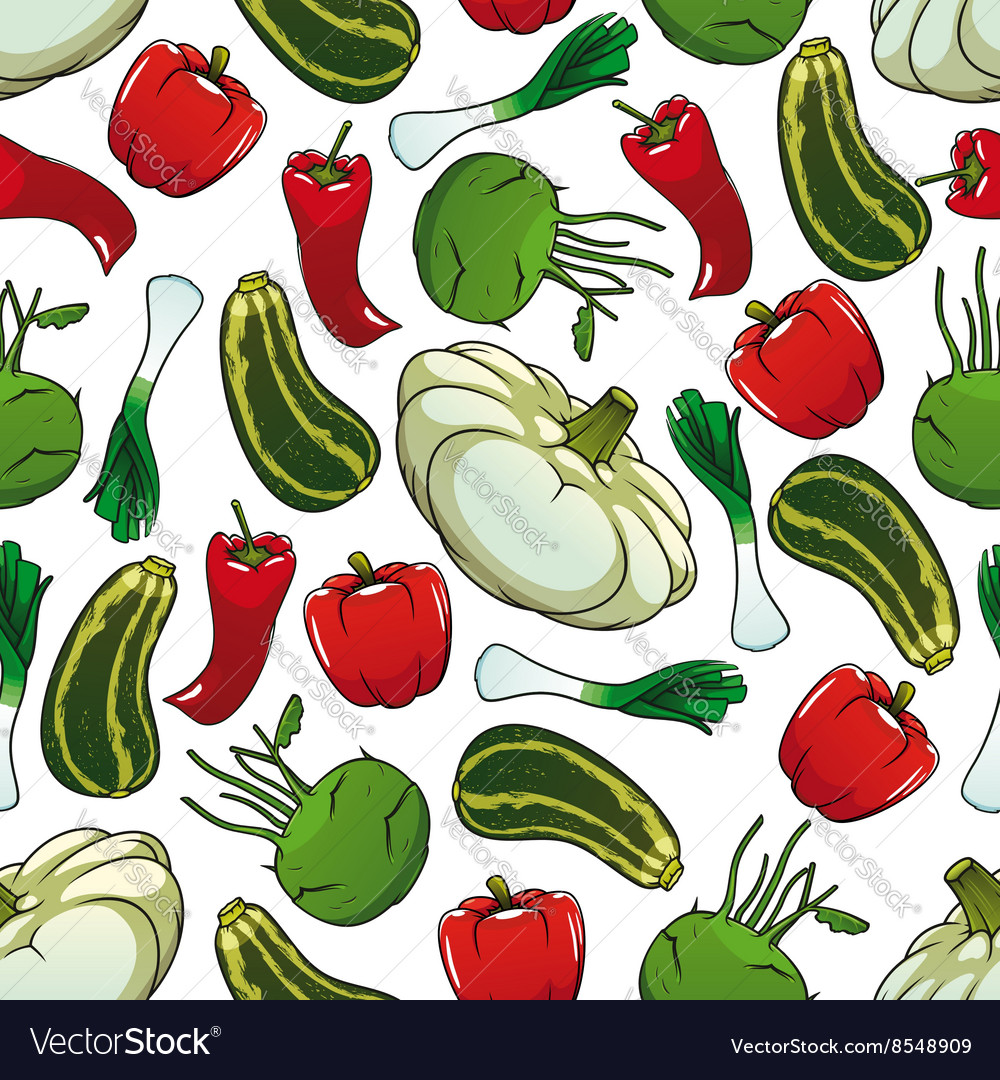 Colorful seamless pattern of fresh vegetables vector