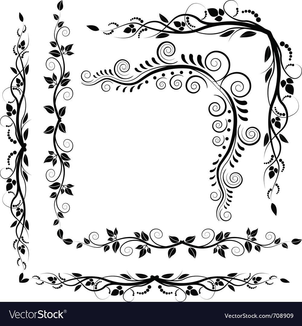 Decorative corners plant vector