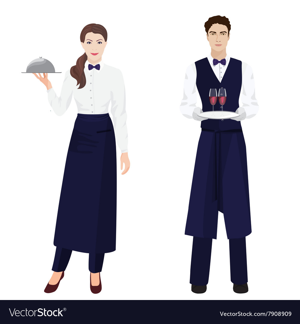 Young beautiful waitress and handsome waiter at vector
