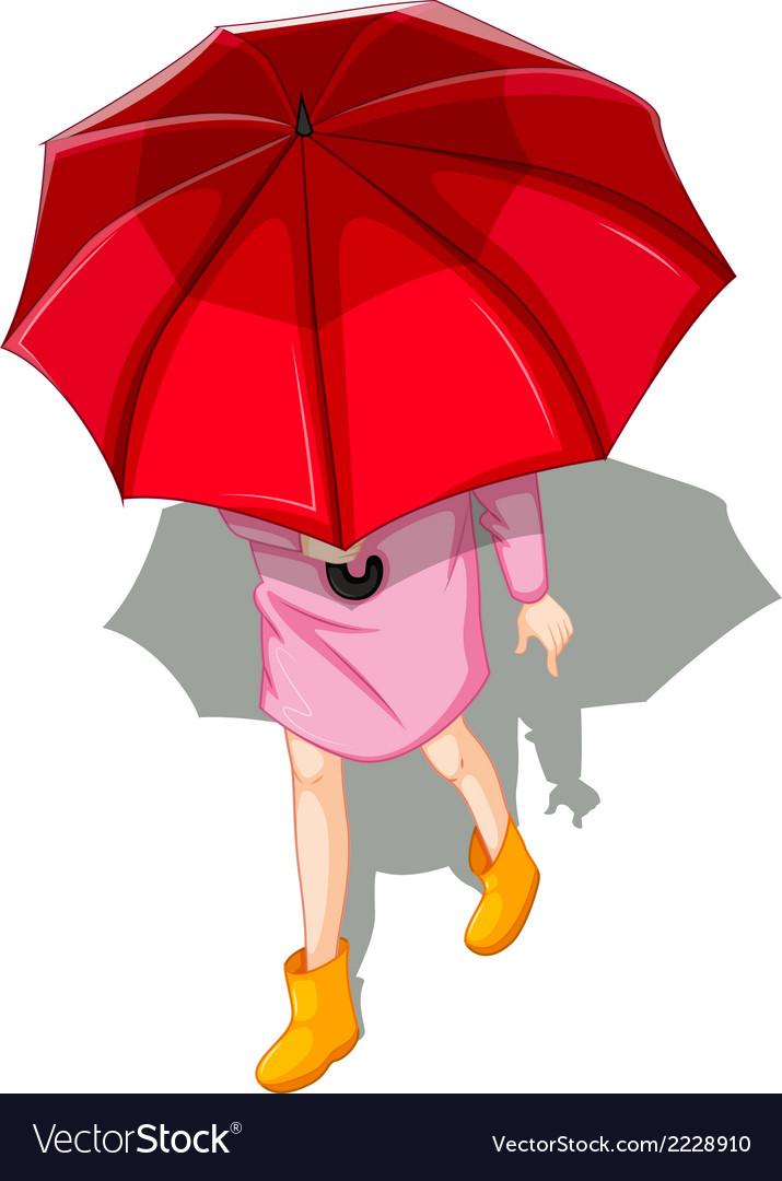 A topview of a woman using umbrella vector