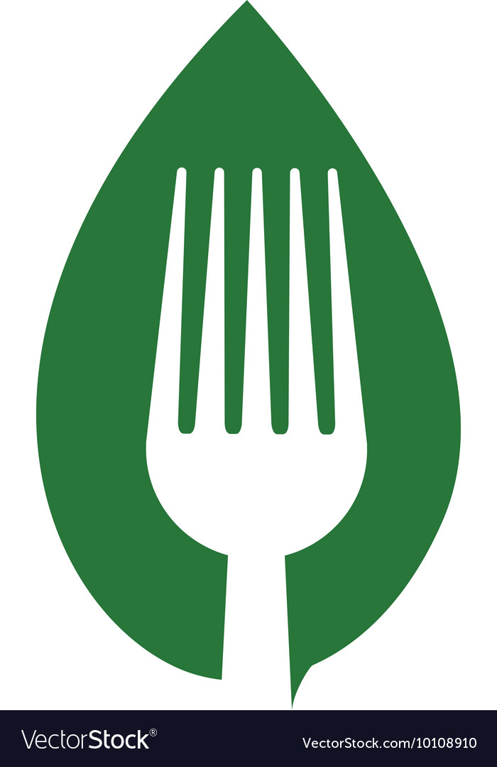 Fork leaf green vegan organic icon graphic vector