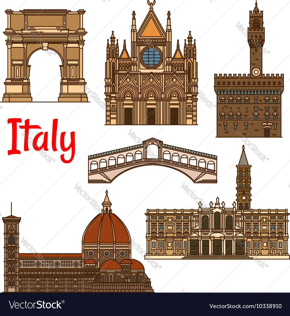 Symbolic travel landmarks of italy thin line icon vector