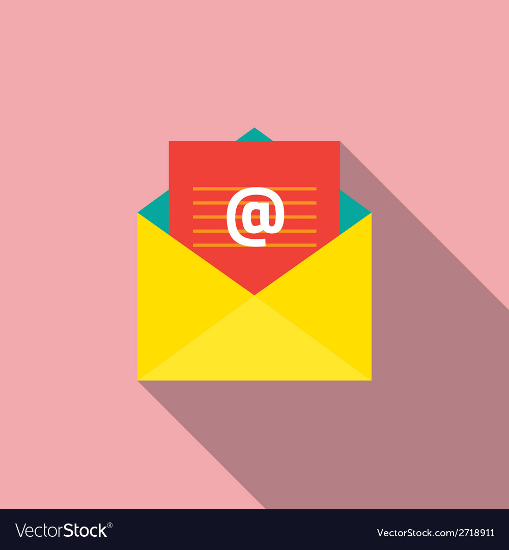 Flat design email icon vector