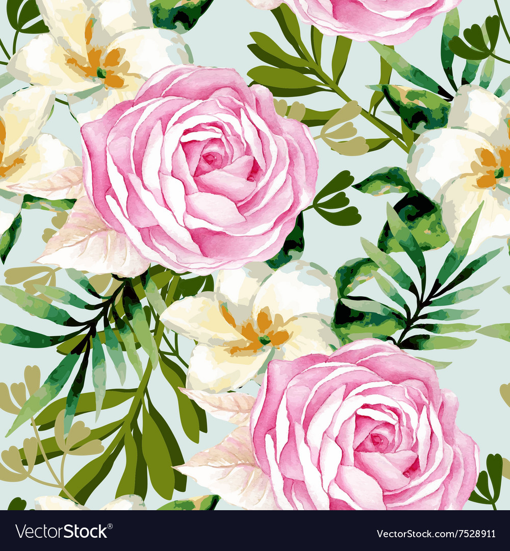 Watercolor seamless roses pattern vector