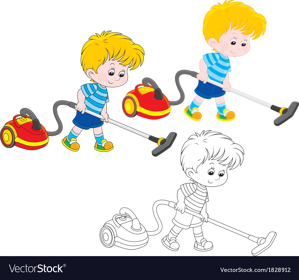 Boy with a vacuum cleaner vector