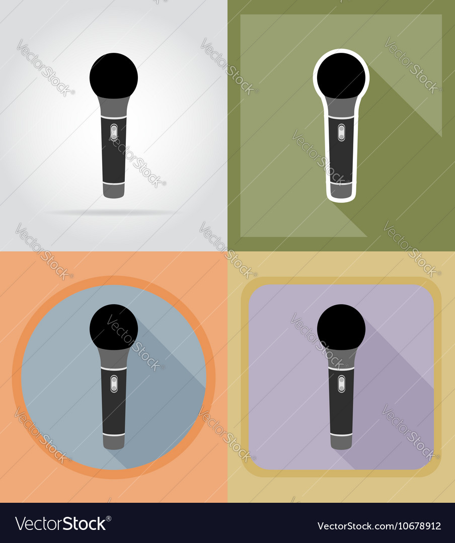 Music items and equipment flat icons 04 vector