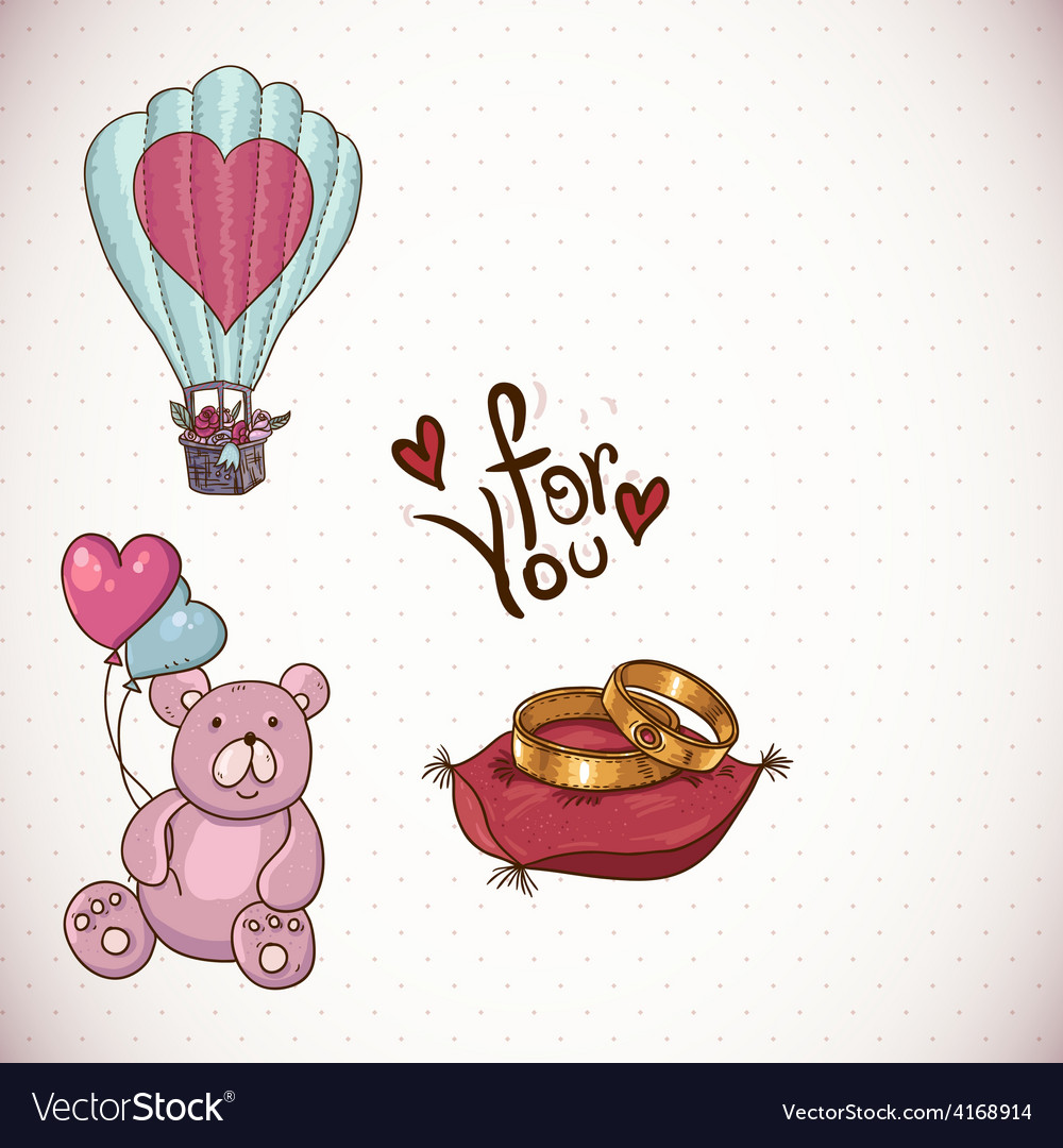 Doodle cartoon love collection vector