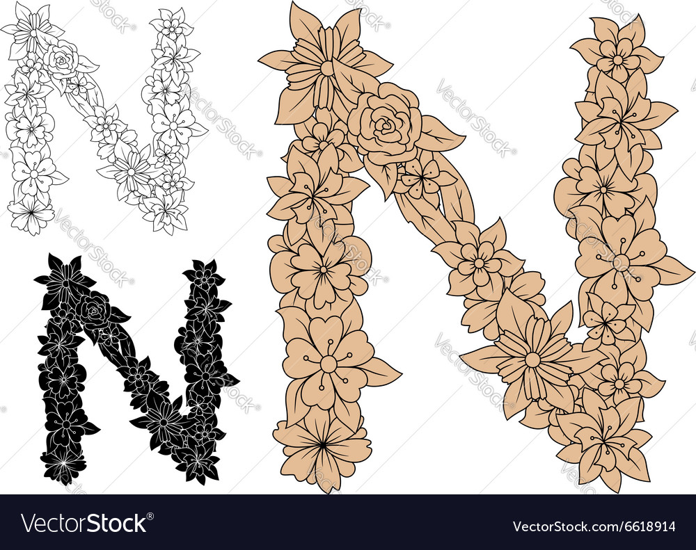 Floral letter n with brown flower elements vector