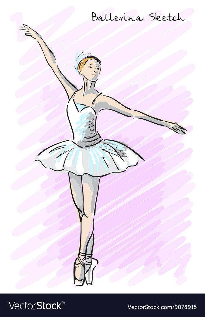 Cute ballet dancer girl sketch style old hand vector