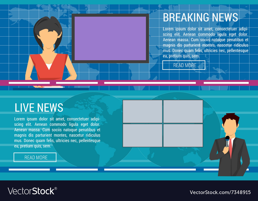 Two banners of world tv news anchors vector