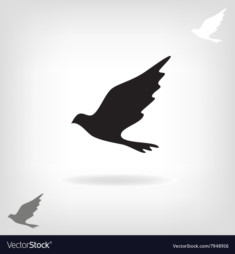 Black bird isolated with expanded wings vector