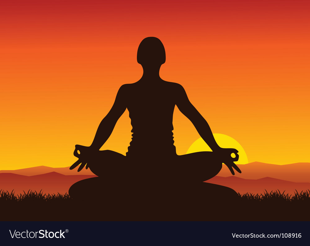 Yoga sunset vector
