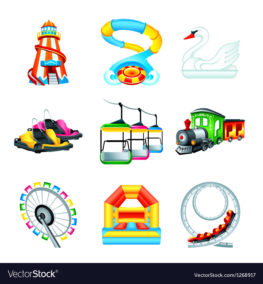 Attraction icons  set ii vector
