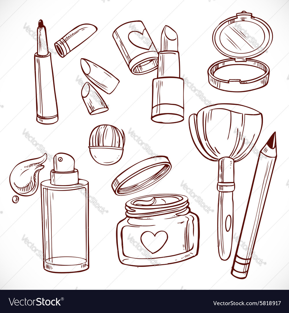 Set of doodles on cosmetics cream face powder vector