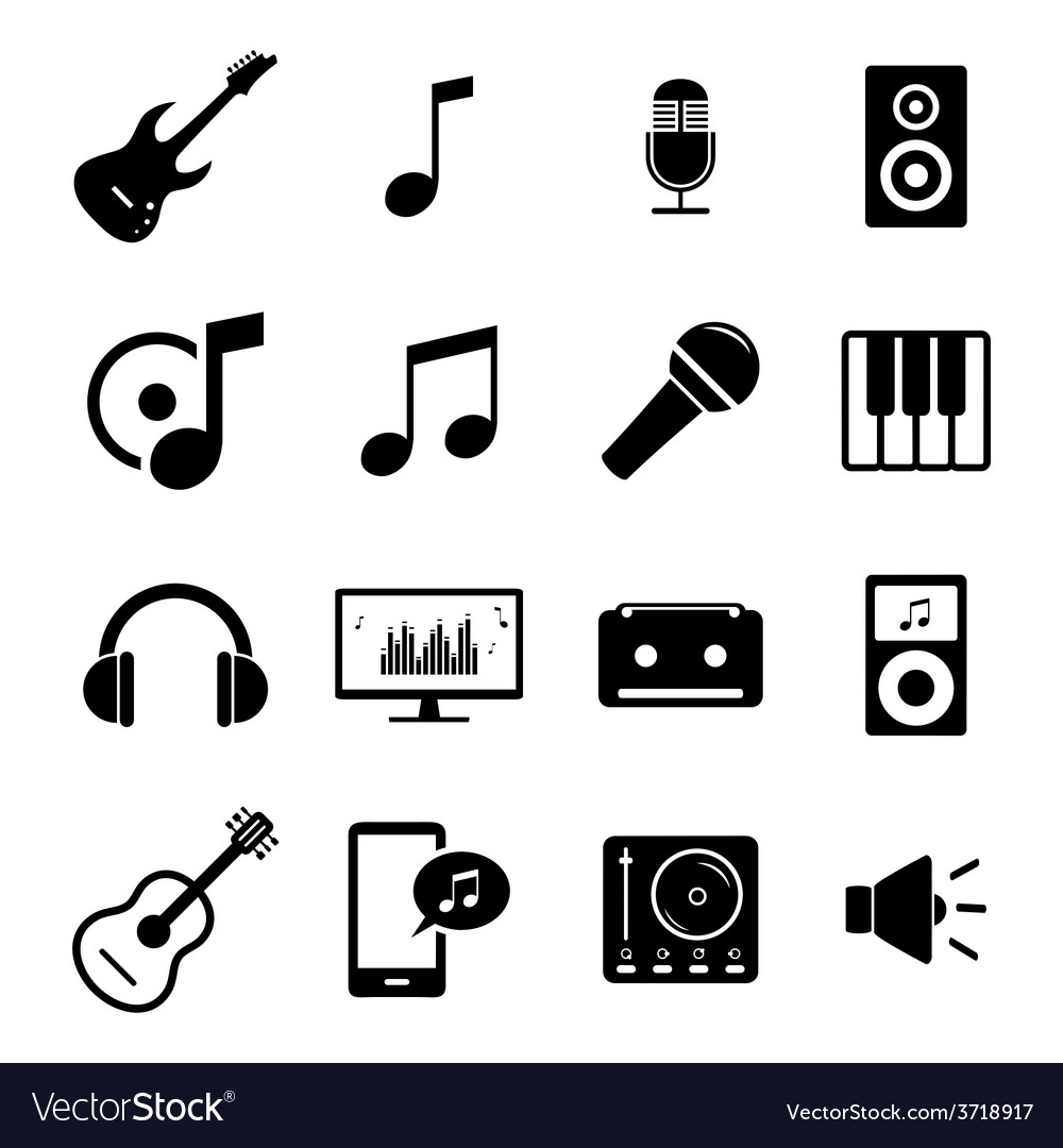 Set of flat icons  audio music and sound related vector