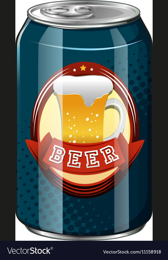 Fresh beer in blue can vector