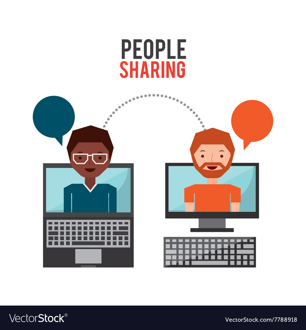 People sharing design vector