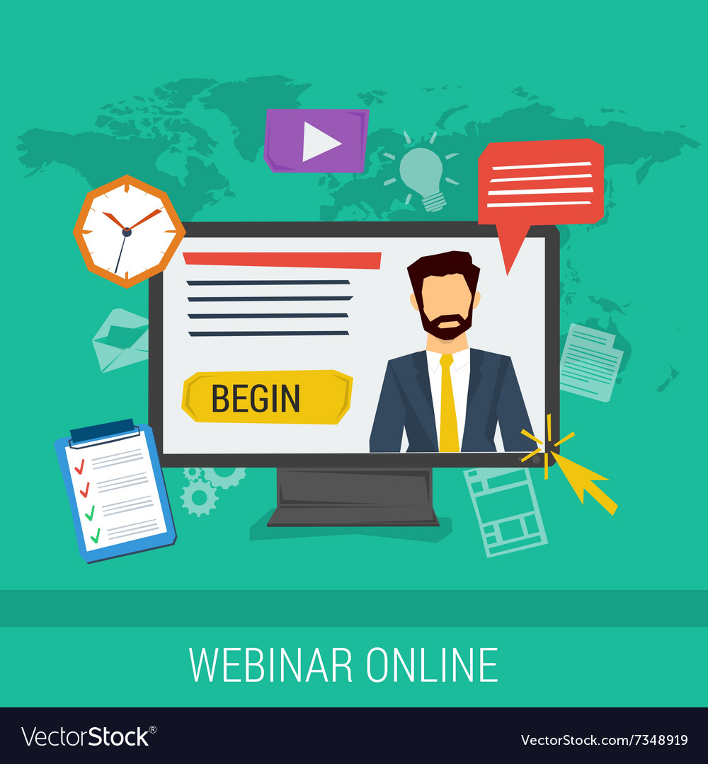 Online webinar elearning professional lectures vector