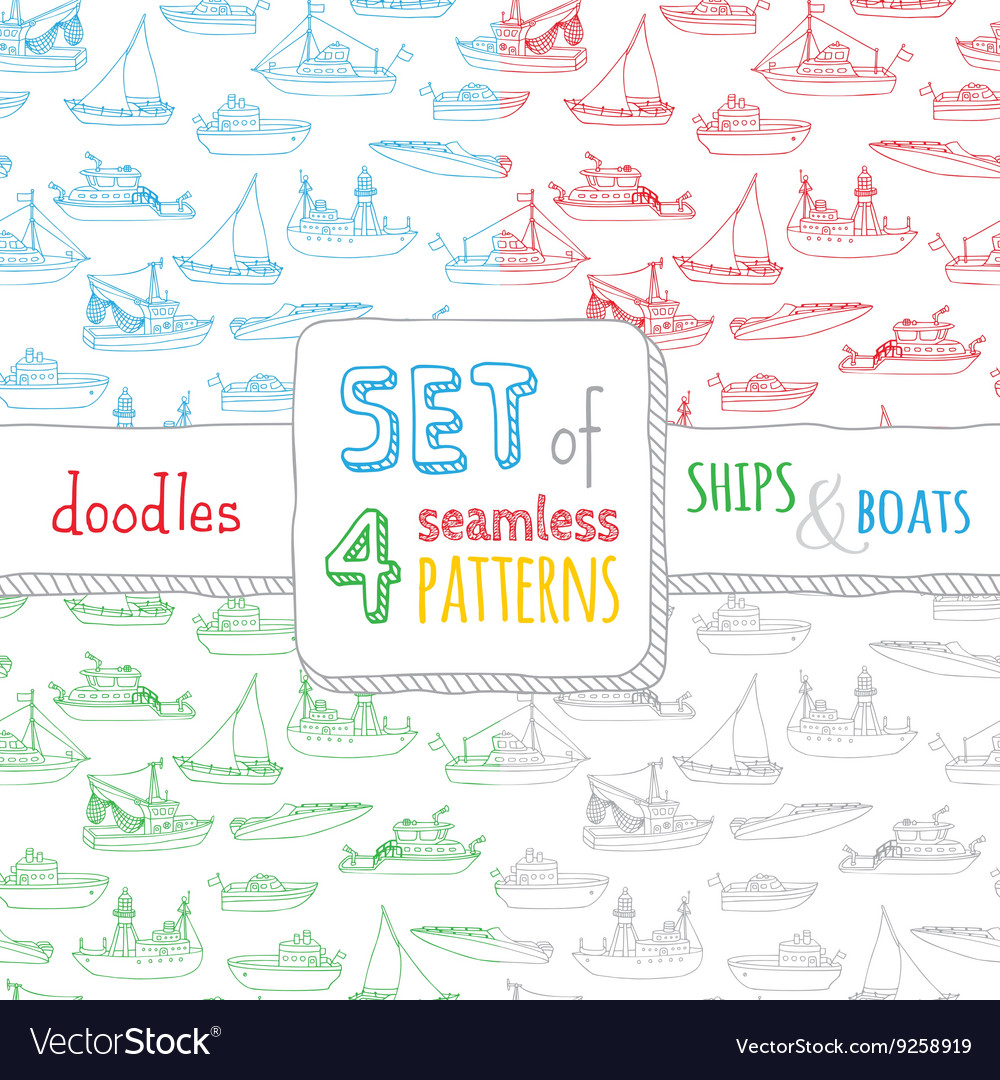 Set of four seamless nautical patterns vector