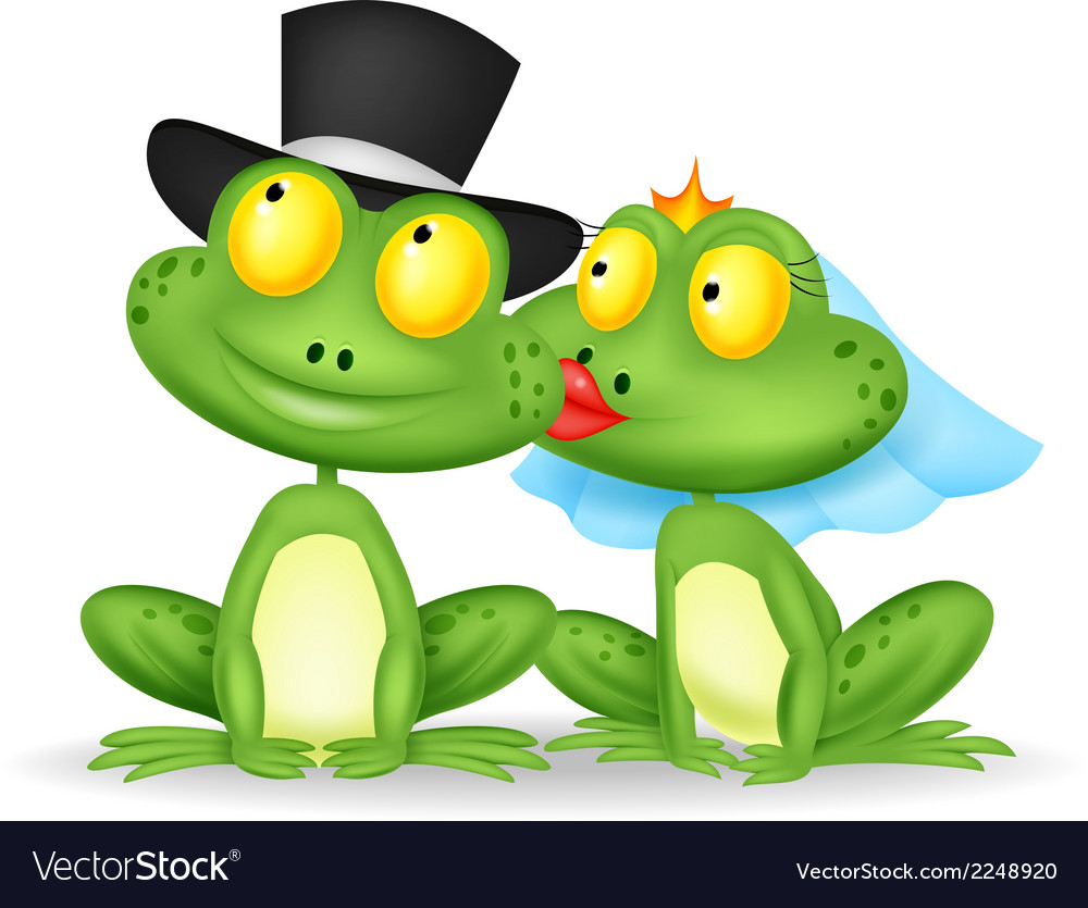 Married frog cartoon kissing vector