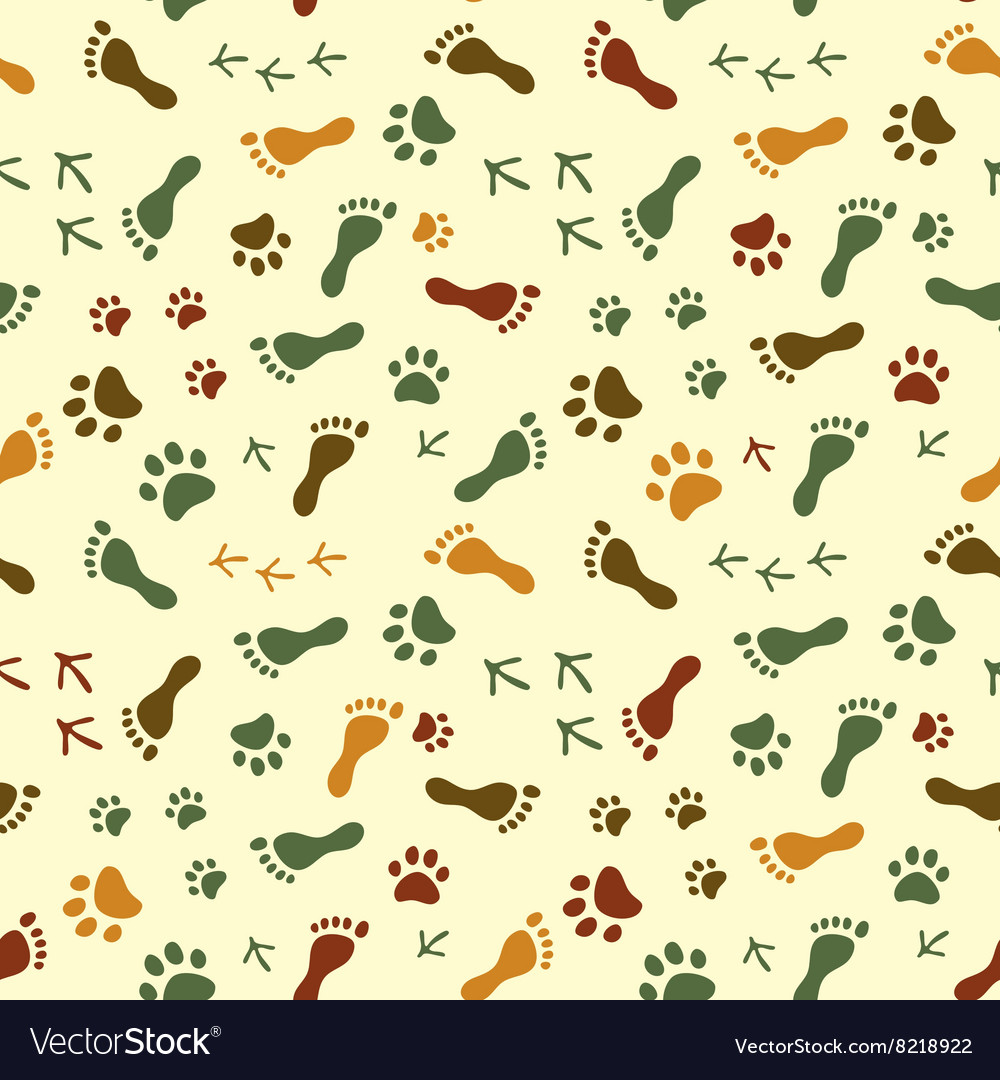 Human and bird feet cat dog paws colorful vector
