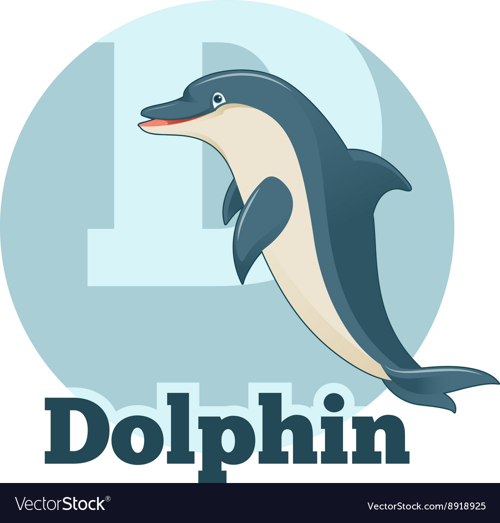 Abc cartoon dolphin vector