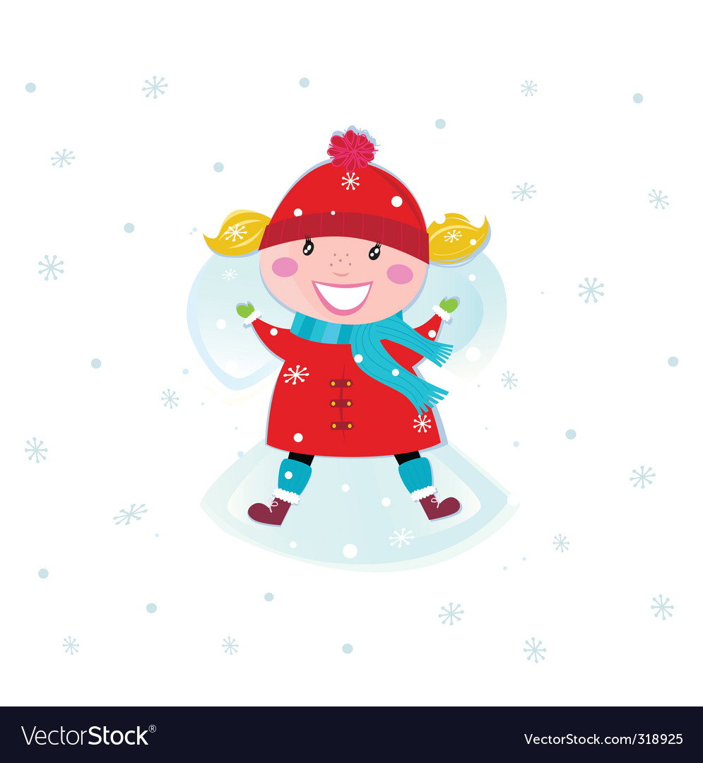Girl and snow angel vector