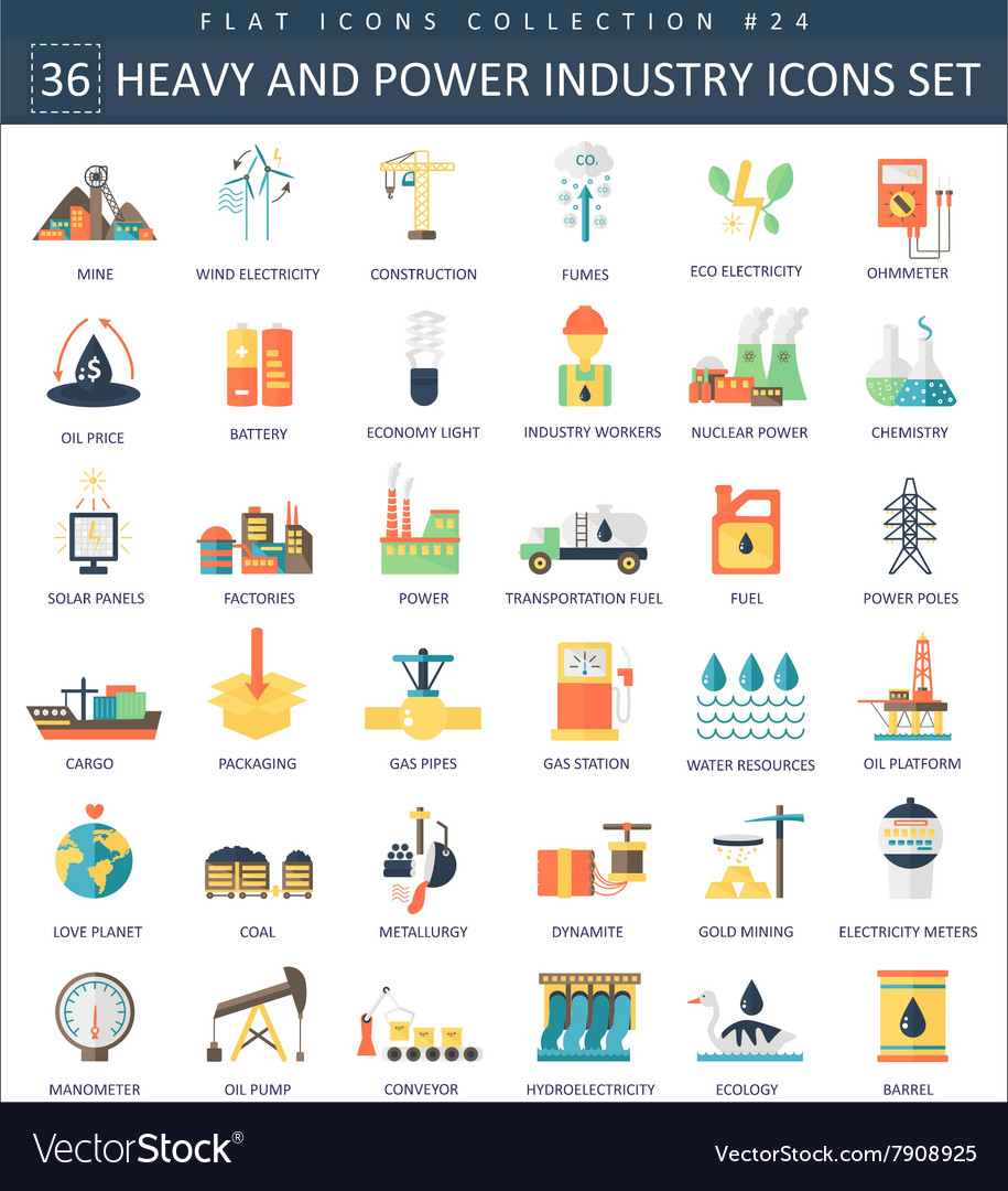 Heavy and power industry color flat icon vector