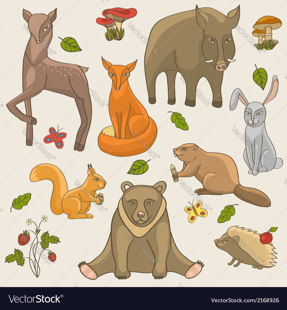 Hand drawing animals set vector