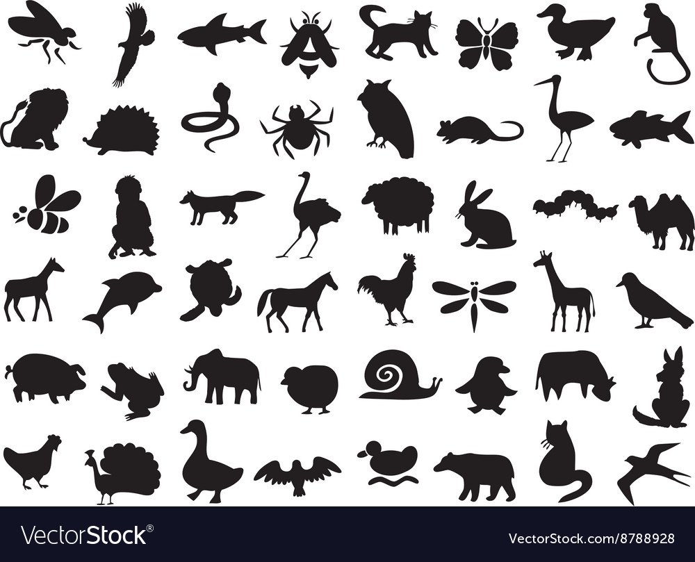 Animals silhouettes set vector