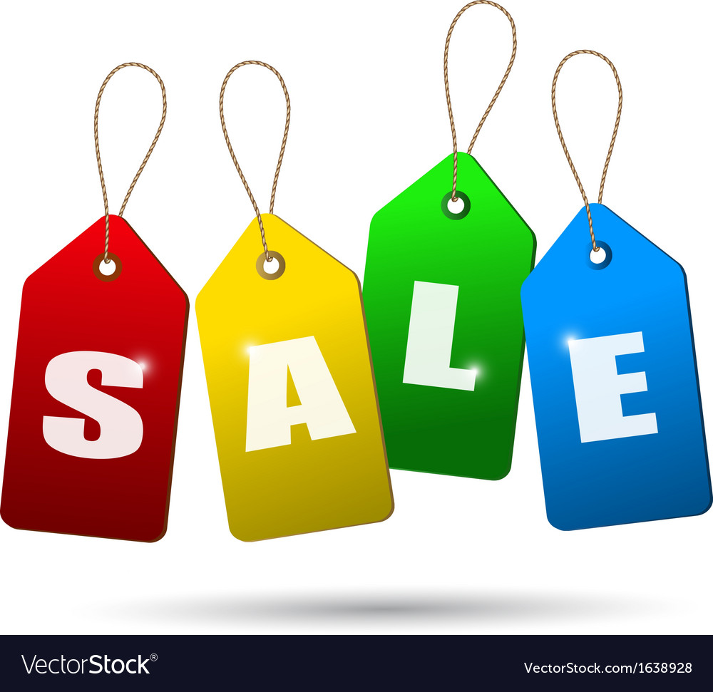 Colorful sale tags concept of discount shopping vector