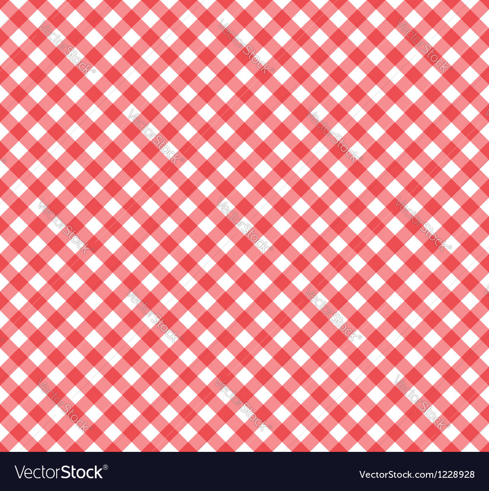 Gingham pattern in red and white vector