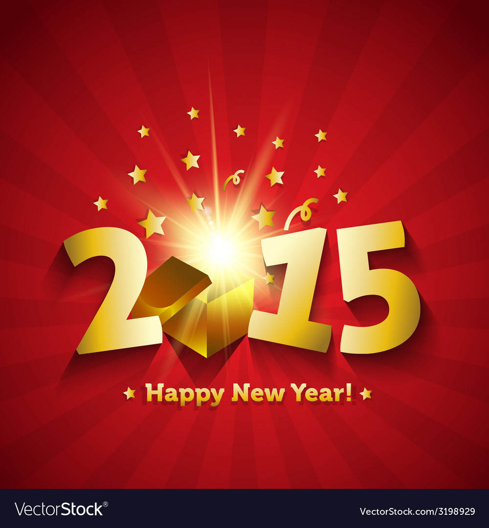 Happy new year 2015 open magic gift greeting card vector