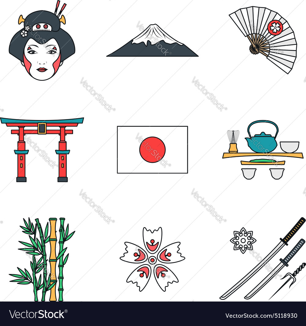 Colored outline various japan icons set vector